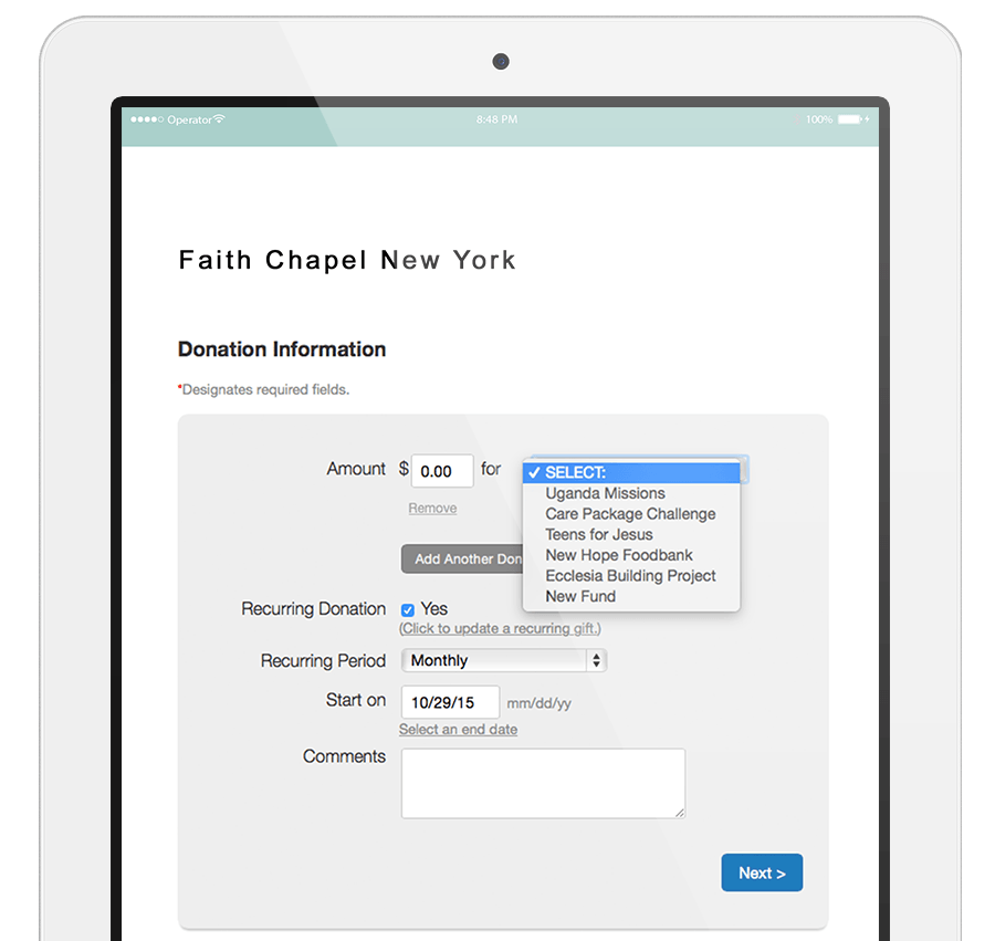 Giving forms look great on tablet, mobile or desktop